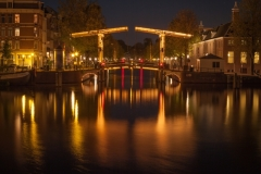 Travel photography Amsterdam bridge at night light